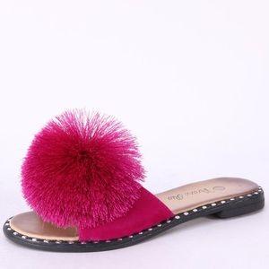 Verano Fuchsia Pom Silver Stud SlipOn Mule Sandals
